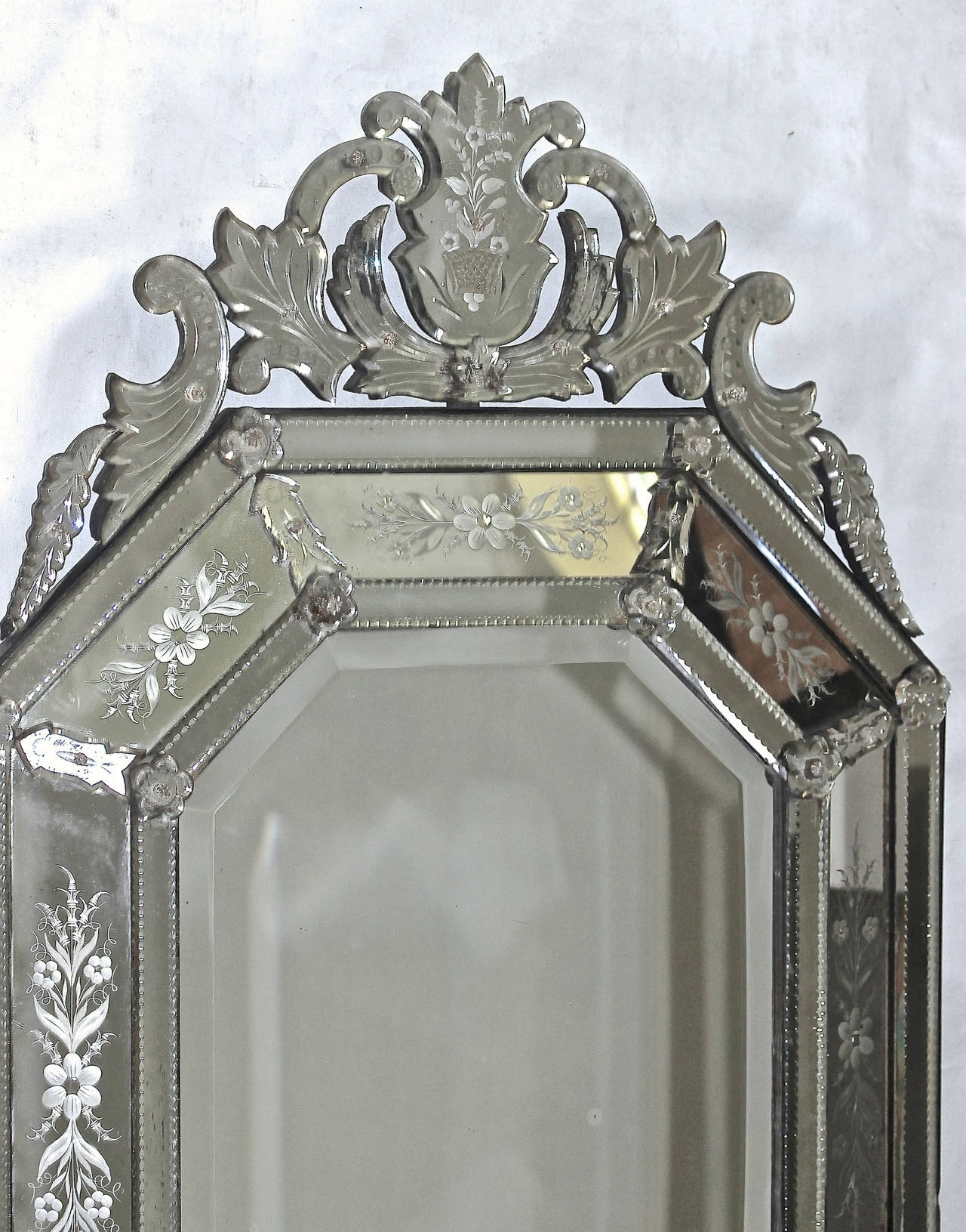 Italian Glass Wall Art Inside Well Known Italian Venetian Etched Glass Wall Mirror For Sale At 1Stdibs (View 6 of 15)