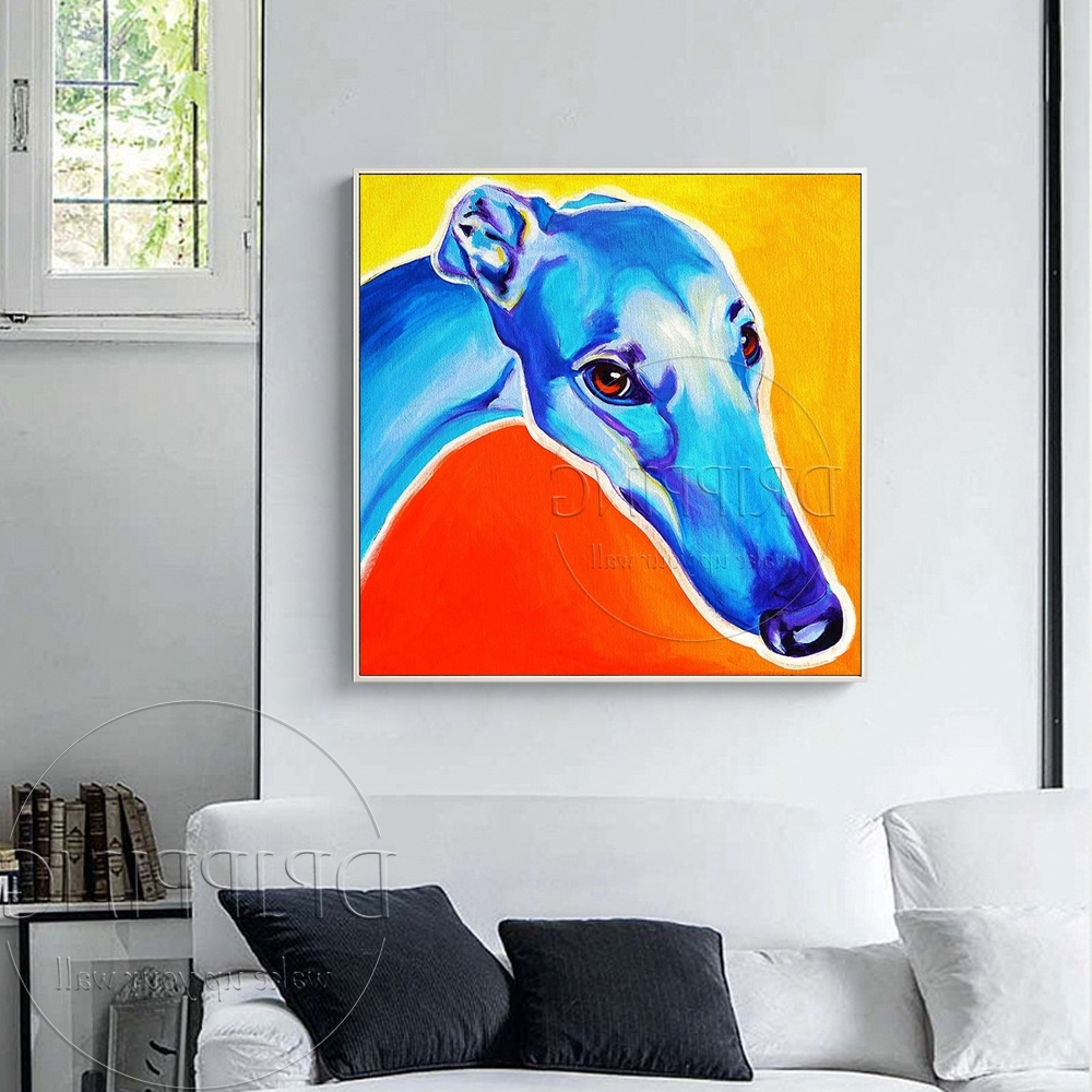 Italian Greyhound Wall Art Pertaining To Favorite Painter Team Wholesale Hand Painted Dog Oil Painting Handmade (View 8 of 15)
