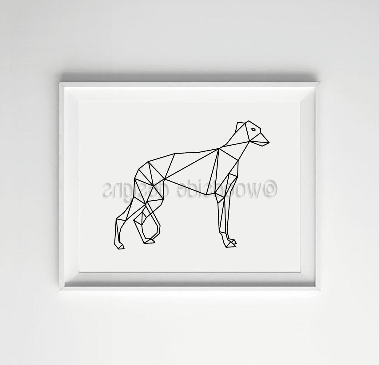 Italian Greyhound Wall Art Regarding Most Popular Geometric Greyhound Print, Low Poly, Digital Art, Italian (View 9 of 15)