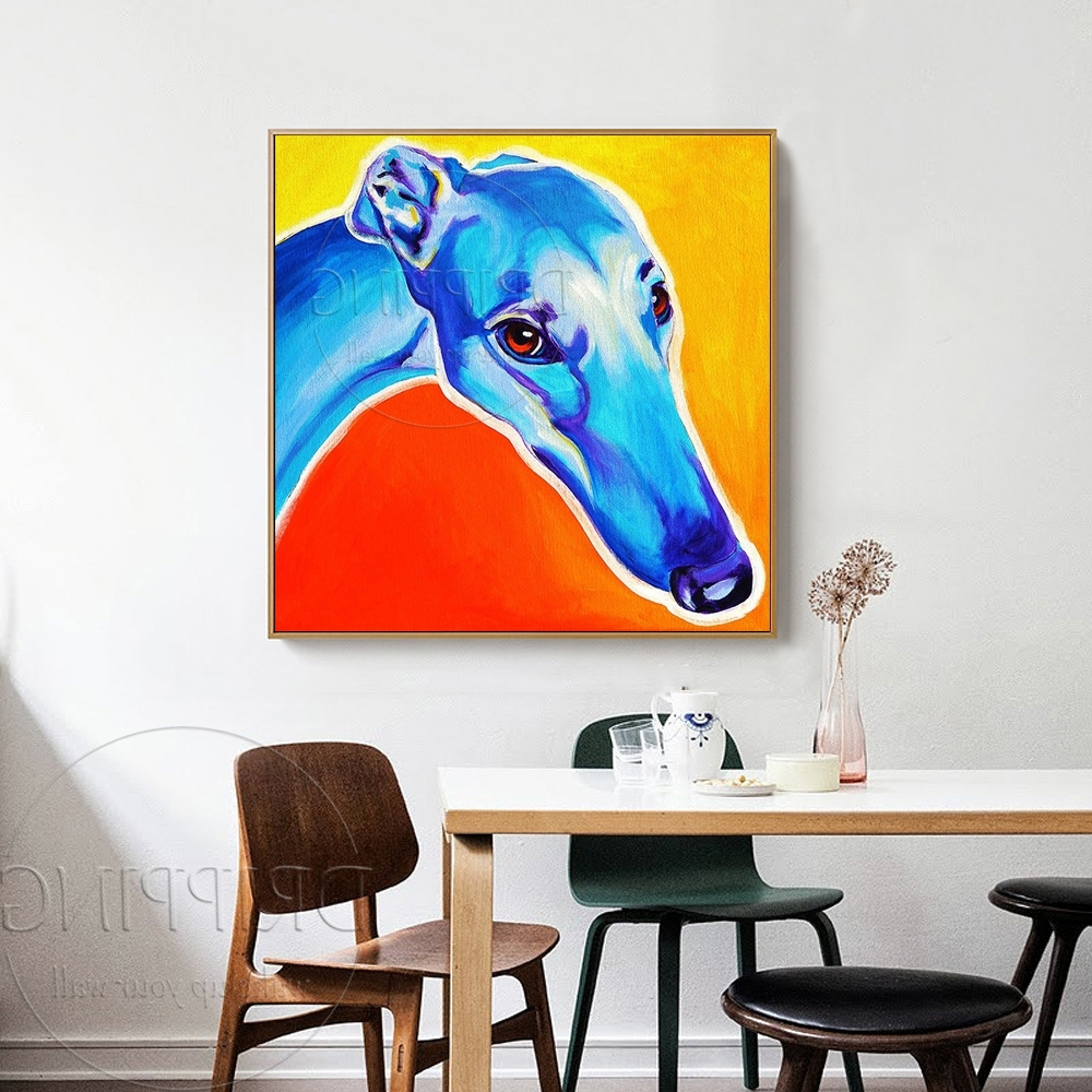 Italian Greyhound Wall Art Within Best And Newest Painter Team Wholesale Hand Painted Dog Oil Painting Handmade (View 10 of 15)