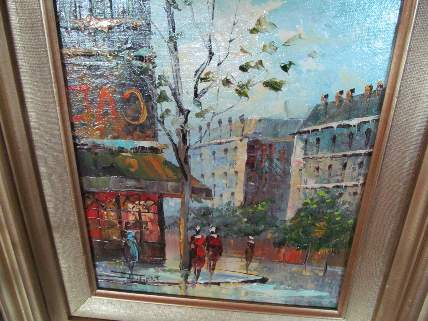 Italian Scene Wall Art Regarding Most Up To Date Vintage Paris Oil Painting On Boarditalian Artist P.c (View 7 of 15)