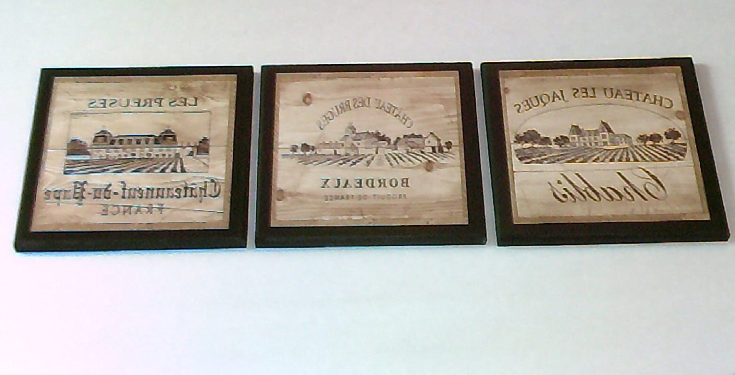 Italian Themed Kitchen Wall Art Intended For Widely Used Amazon: Wine Crate Style Plaques, 3 Piece Set, Kitchen Wall (View 5 of 15)