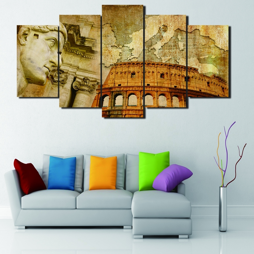Italian Wall Art For Living Room For Most Recently Released 5 Panels Italian Colosseum Map Abstract Oil Painting Printed Print (Gallery 14 of 15)