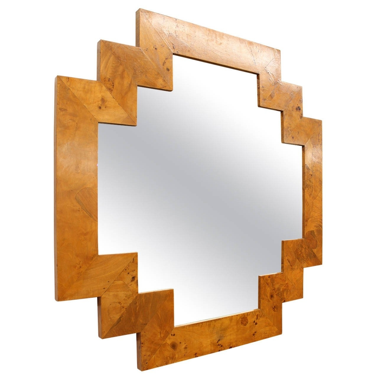 Italian Wood Wall Art With Fashionable Art Deco Style Geometric Italian Burl Wood Wall Mirror At 1Stdibs (View 6 of 15)