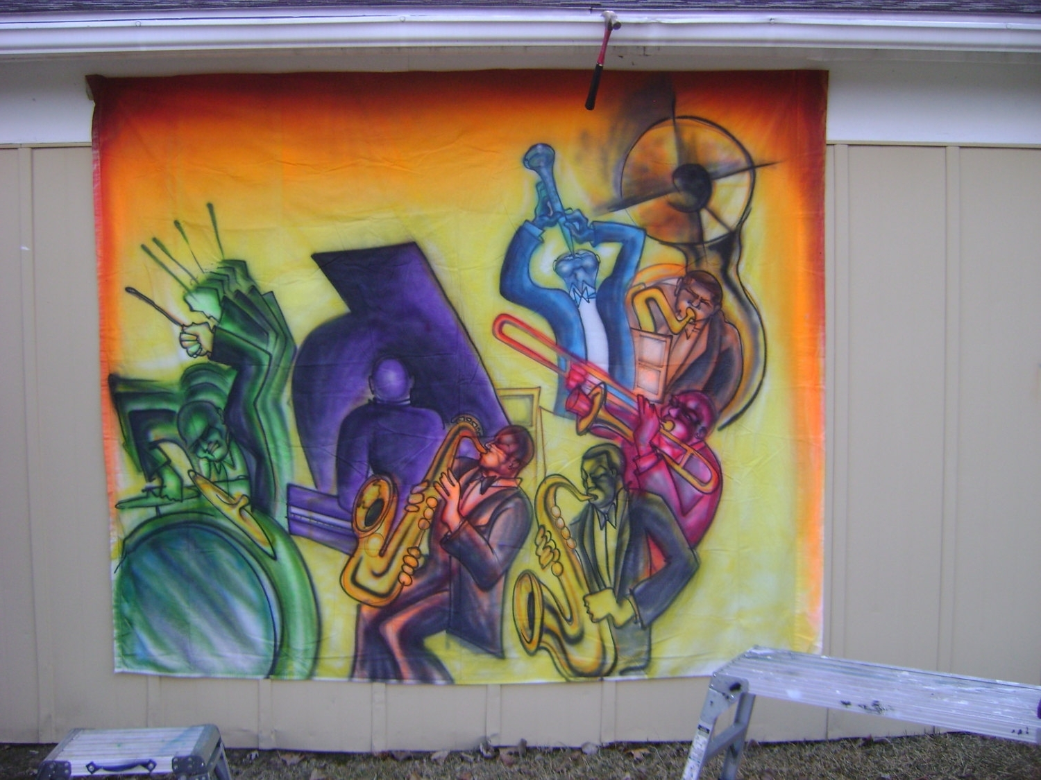 Jazz And Blues Mural Airbrushed (View 7 of 15)