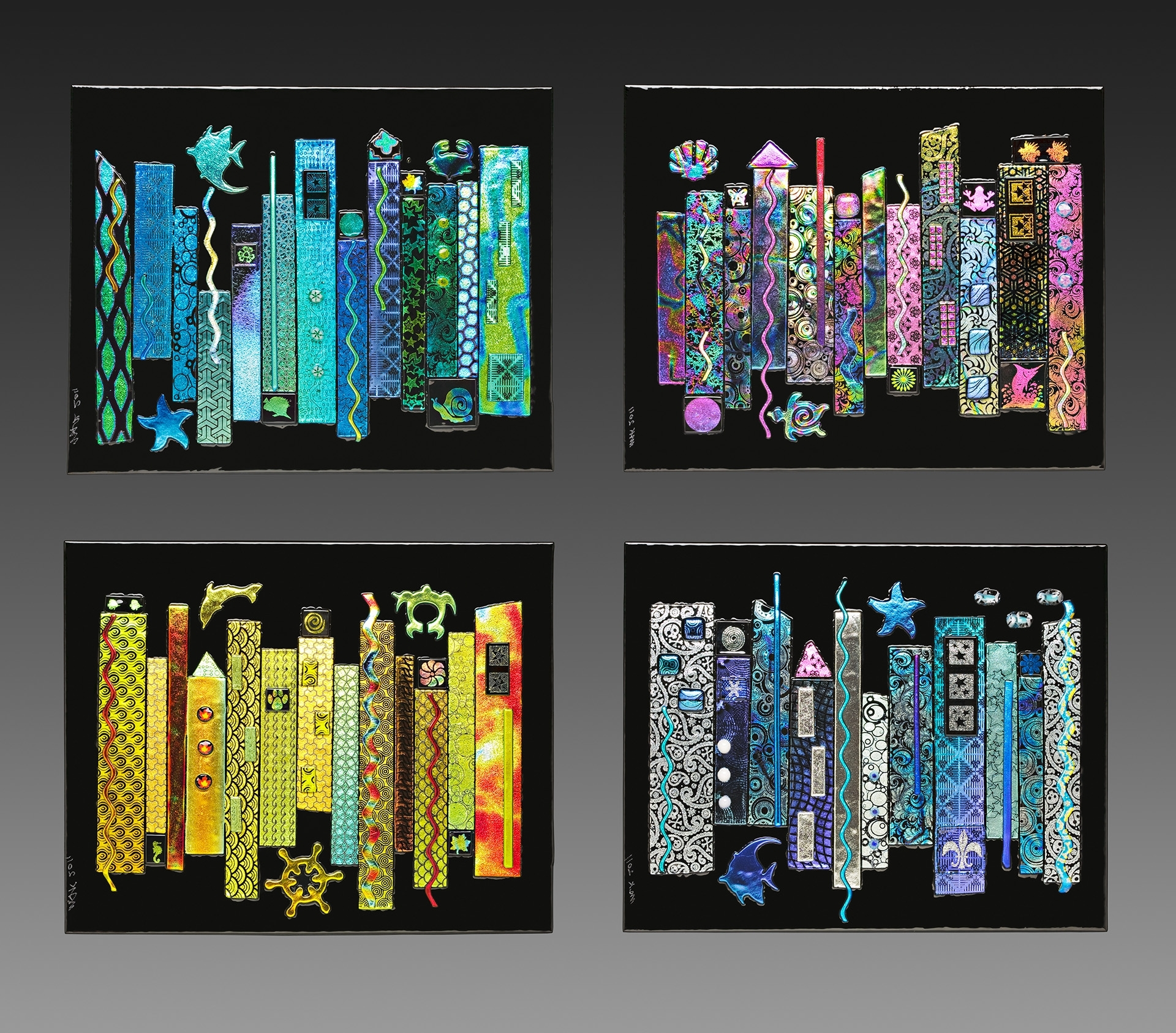 Jazz Seasons Dichroic Fused Glass 4 Panel Wall Inside Fused Dichroic Glass Wall Art (View 12 of 15)