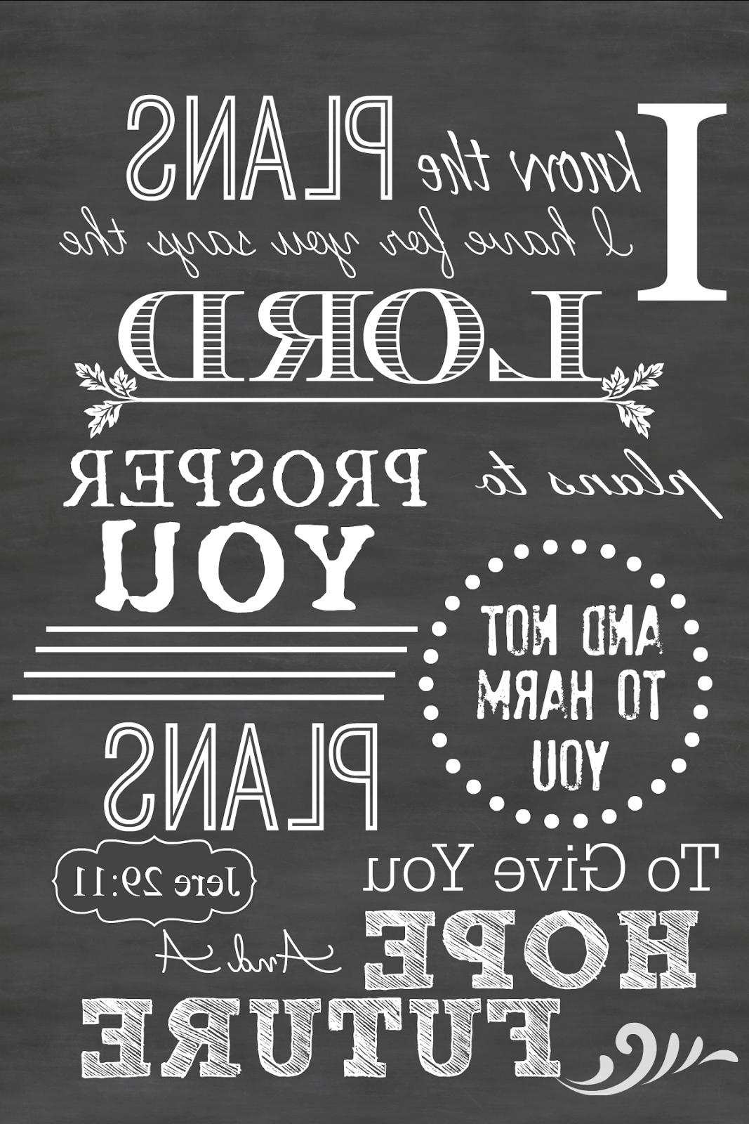 Jeremiah 29 11 Wall Art Intended For Famous Jeremiah 29:11 Printable Chalkboard Art — Printable Decor (Gallery 8 of 15)