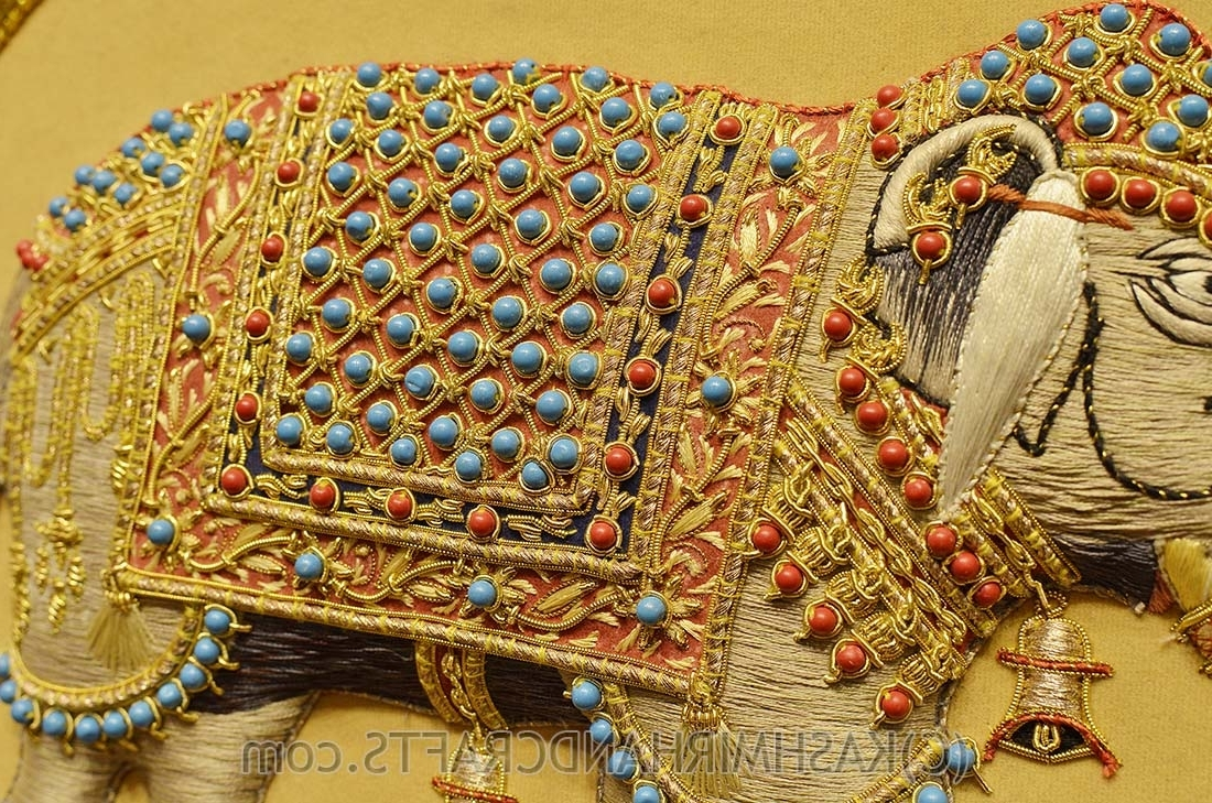 Jeweled Peacock Wall Art Pertaining To Most Up To Date Elephant Wall Art Decorative Panels Jewel Art Tapestrykashmir Fine (Gallery 4 of 15)