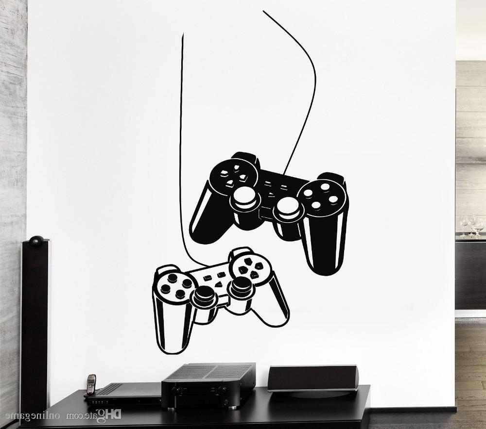 Joystick Wall Sticker Gamer Video Game Play Vinyl Decal Art Mural With Regard To Well Known Video Game Wall Art (View 13 of 15)
