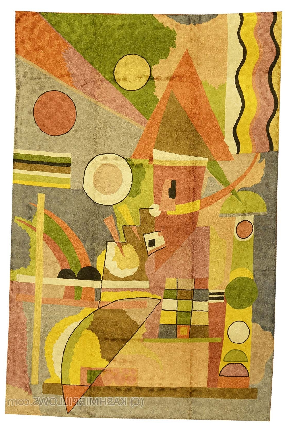 Kandinsky Colorful Composition Silk Modern Rug / Wall Art Hand For Recent Yellow And Green Wall Art (Gallery 15 of 15)