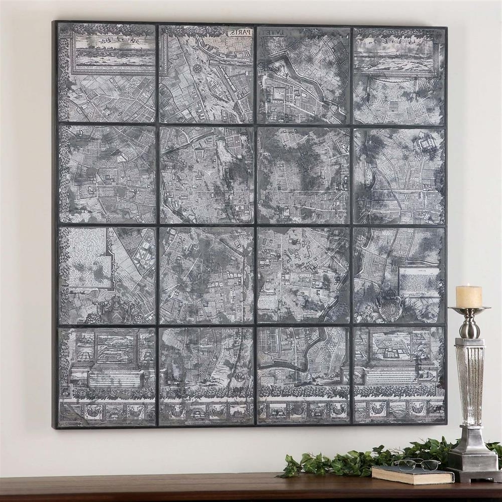 Kase Industrial Loft Dark Antique Mirror Parisian Map Wall Art With Most Up To Date Map Wall Art (View 9 of 15)