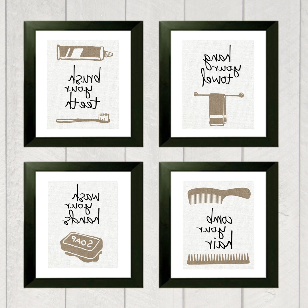 Kids Bathroom Wall Art Pertaining To Fashionable Wall Art Designs: Bathroom Wall Art Bathroom Art Print Set Of  (View 6 of 15)