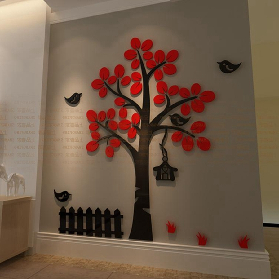 Kids Home 3D Crystal Acrylic Three Dimensional Tree Bird Wall For Latest 3D Tree Wall Art (Gallery 2 of 15)