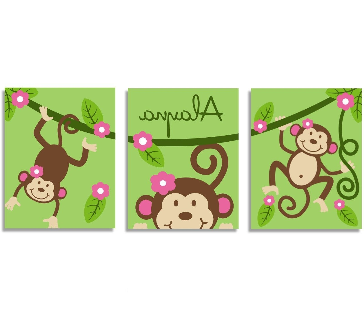 "Kids Wall Art Monkey Vine 3 11"" X 14"" Stretched Canvas Decor Kids With Regard To Most Current Sock Monkey Wall Art (View 4 of 15)"