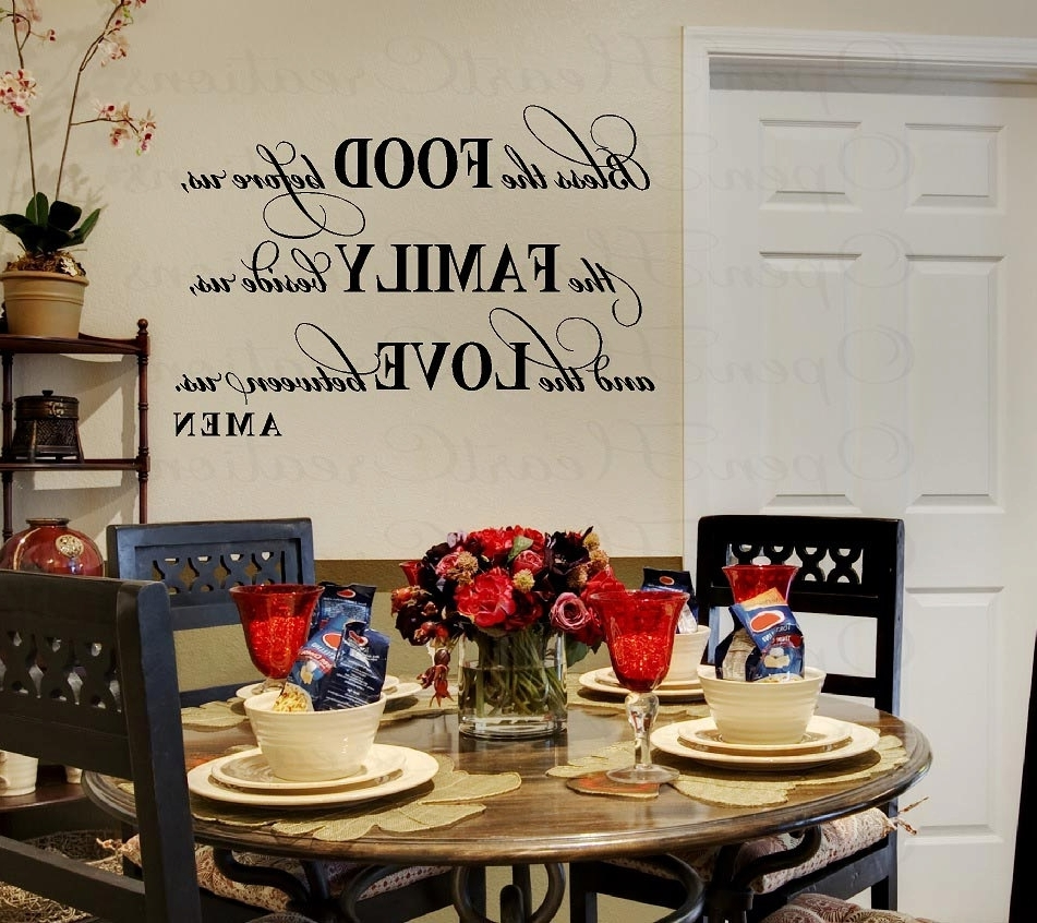 Kitchen And Dining Wall Art Throughout Preferred Bless This Food Before Us Wall Decal – Dining Room Meal Prayer (View 11 of 15)