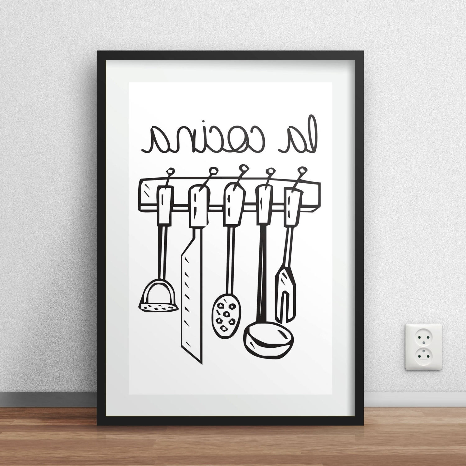 Kitchen Wall Art Within Fashionable La Cocina Printable Wall Art Spanish Kitchen Wall Home Decor (View 9 of 15)
