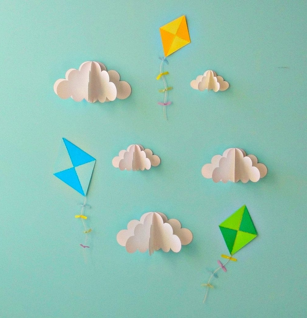 Kite Decals Paper Decals Wall Decals Wall Art 3D Por Goshandgolly Intended For Popular 3D Clouds Out Of Paper Wall Art (Gallery 1 of 15)