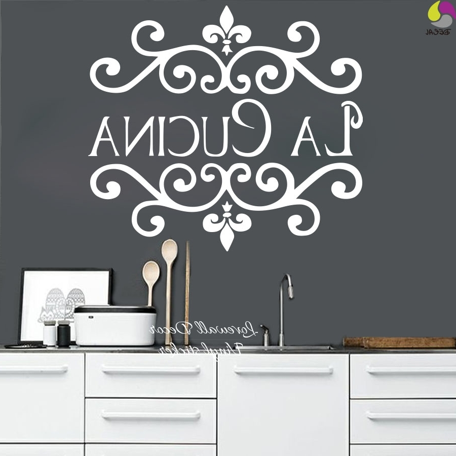 La Cucina Kitchen Wall Sticker Italian Kitchen Quote Wall Decor For Newest Cucina Wall Art (View 10 of 15)