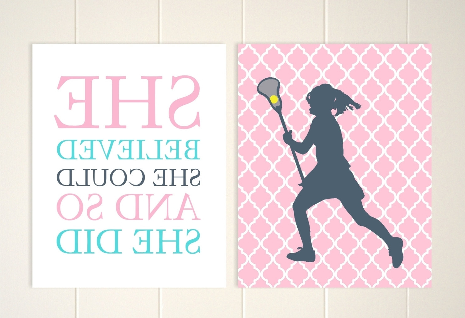 Lacrosse Wall Art Girls Room Wall Art Lacrosse Room Decor Pertaining To Trendy Wall Art For Girls (View 5 of 15)