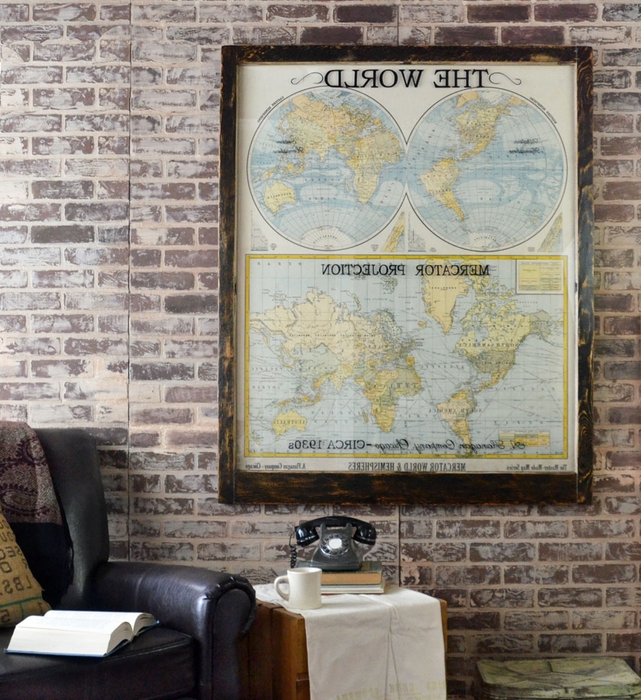 Large Antique World Map Wall Artwork – Office Decor – Antique Map Art With Regard To 2017 Antique Map Wall Art (View 7 of 15)