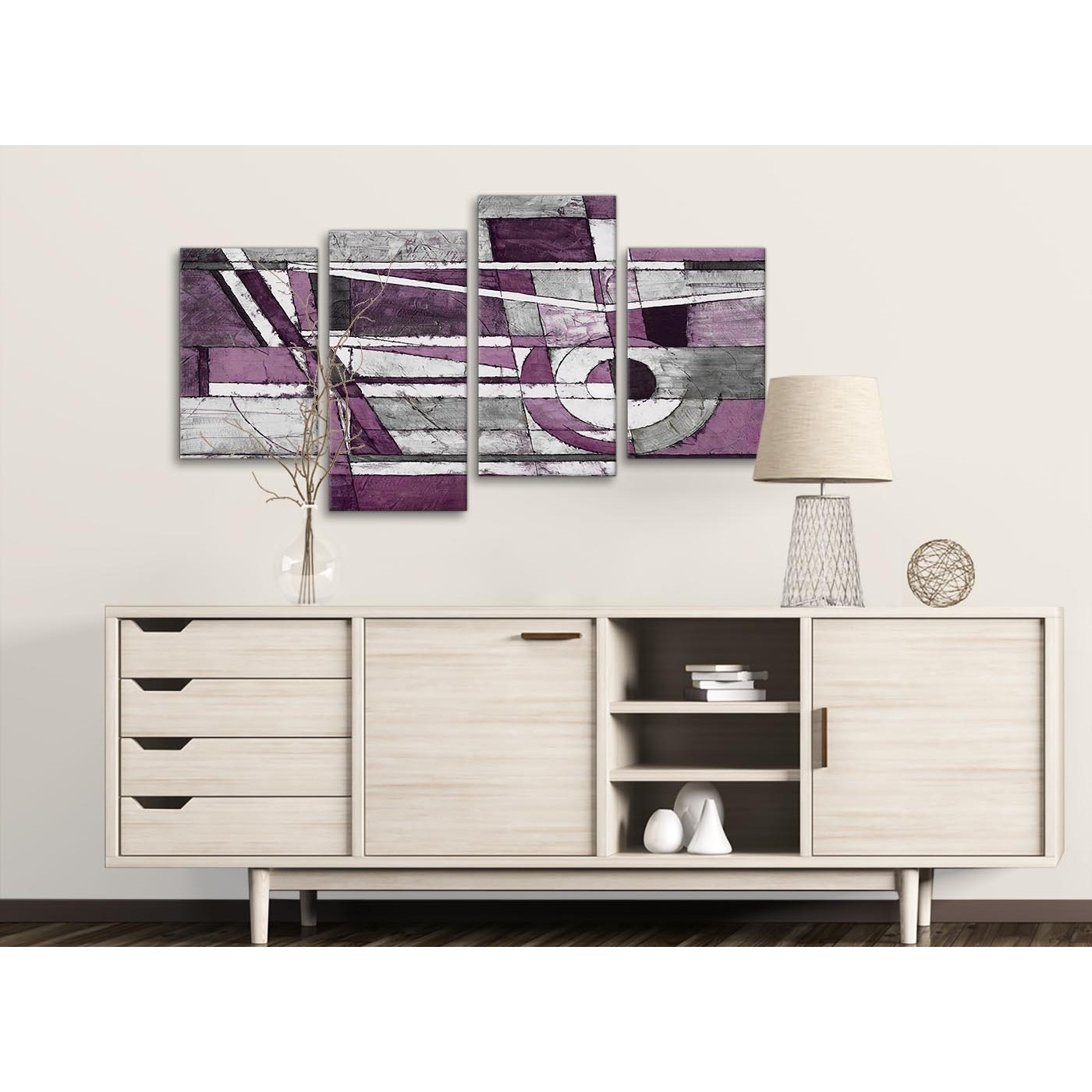 Large Aubergine Grey White Painting Abstract Bedroom Canvas Wall For Latest Aubergine Wall Art (View 9 of 15)