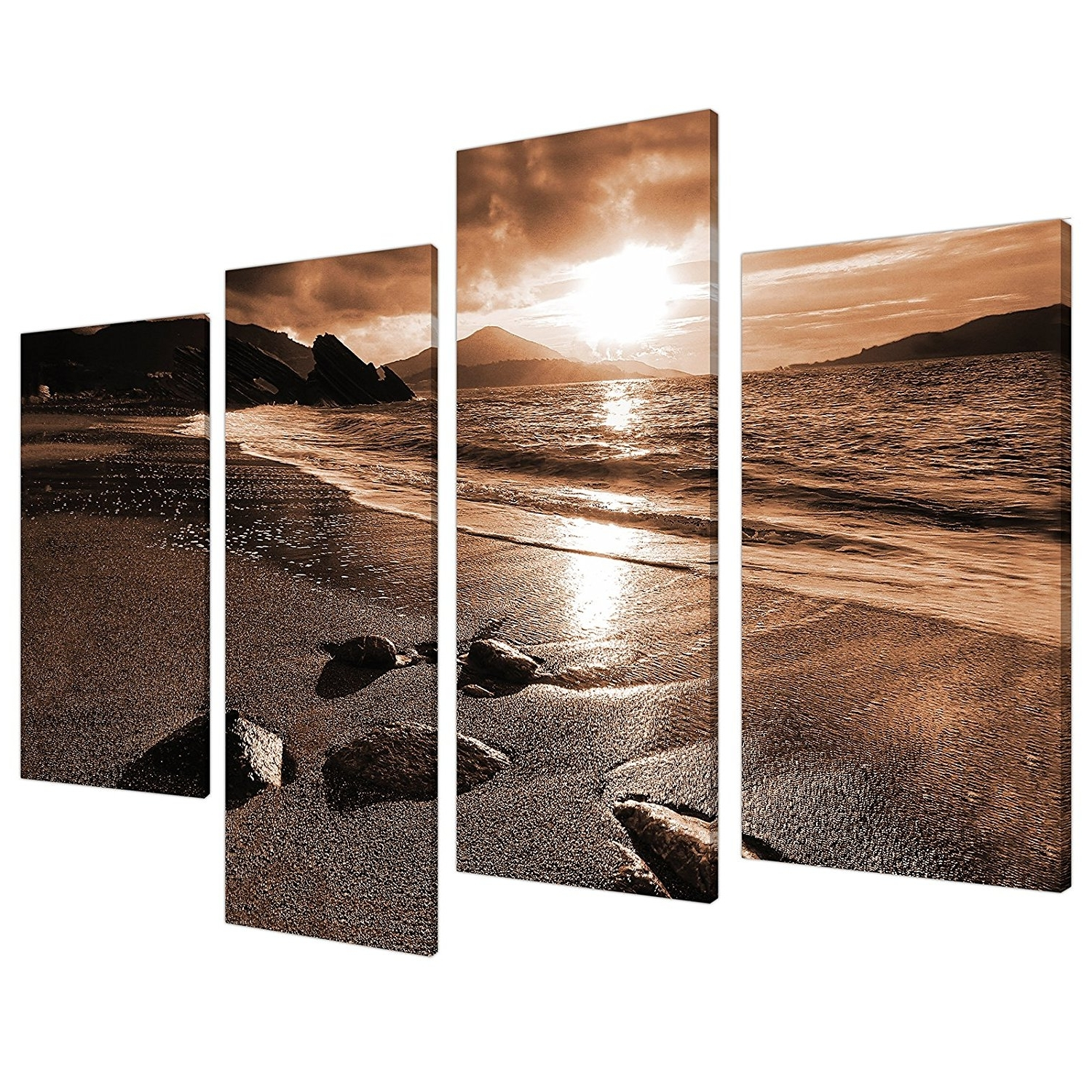Large Brown Sepia Beach Canvas Wall Art Pictures 130Cm Prints Xl Inside Current Huge Canvas Wall Art (View 7 of 15)