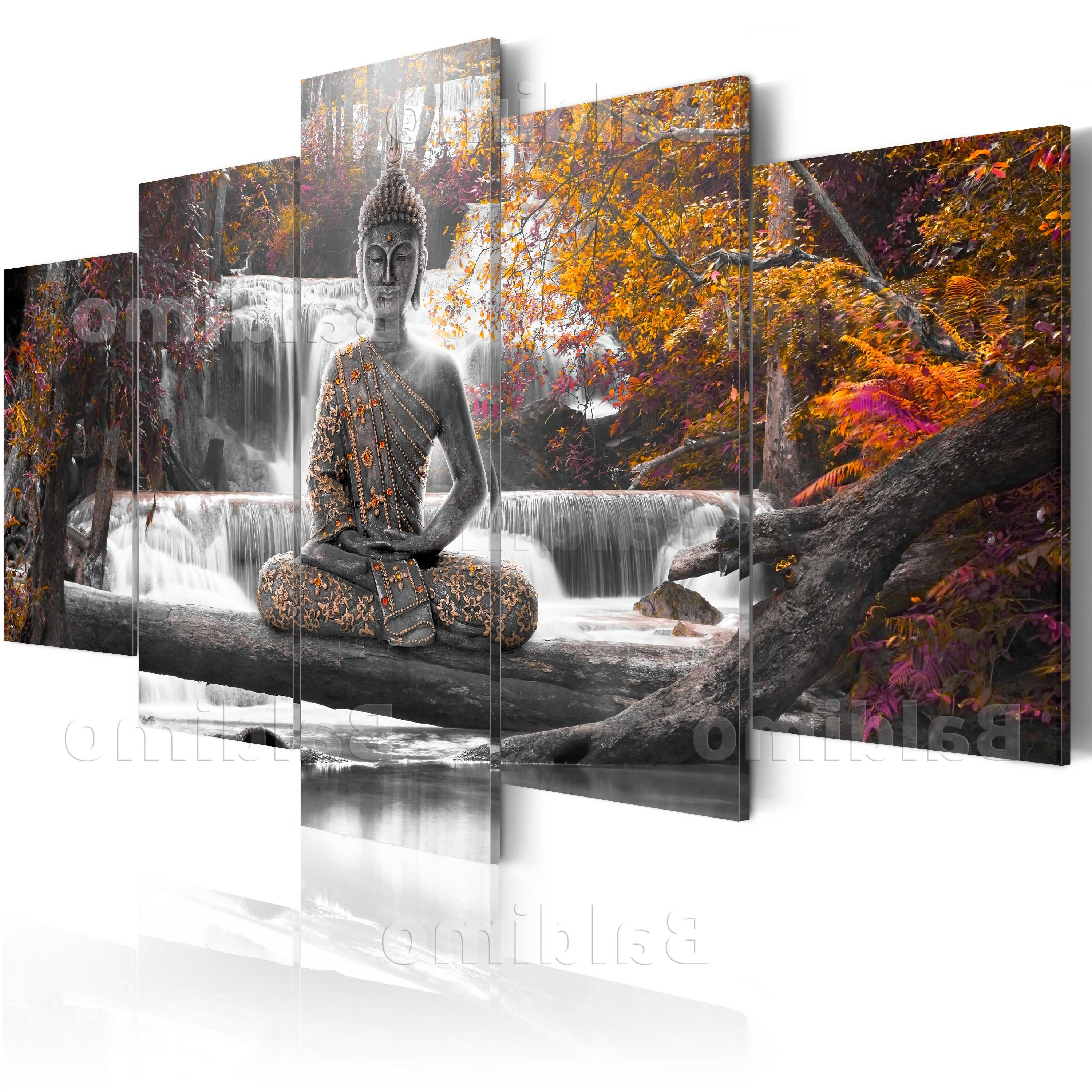 Large Buddha Wall Art For Famous Unusual Quality Bamboo Face Oil Painting Abstract Buddha On Canvas (View 5 of 15)