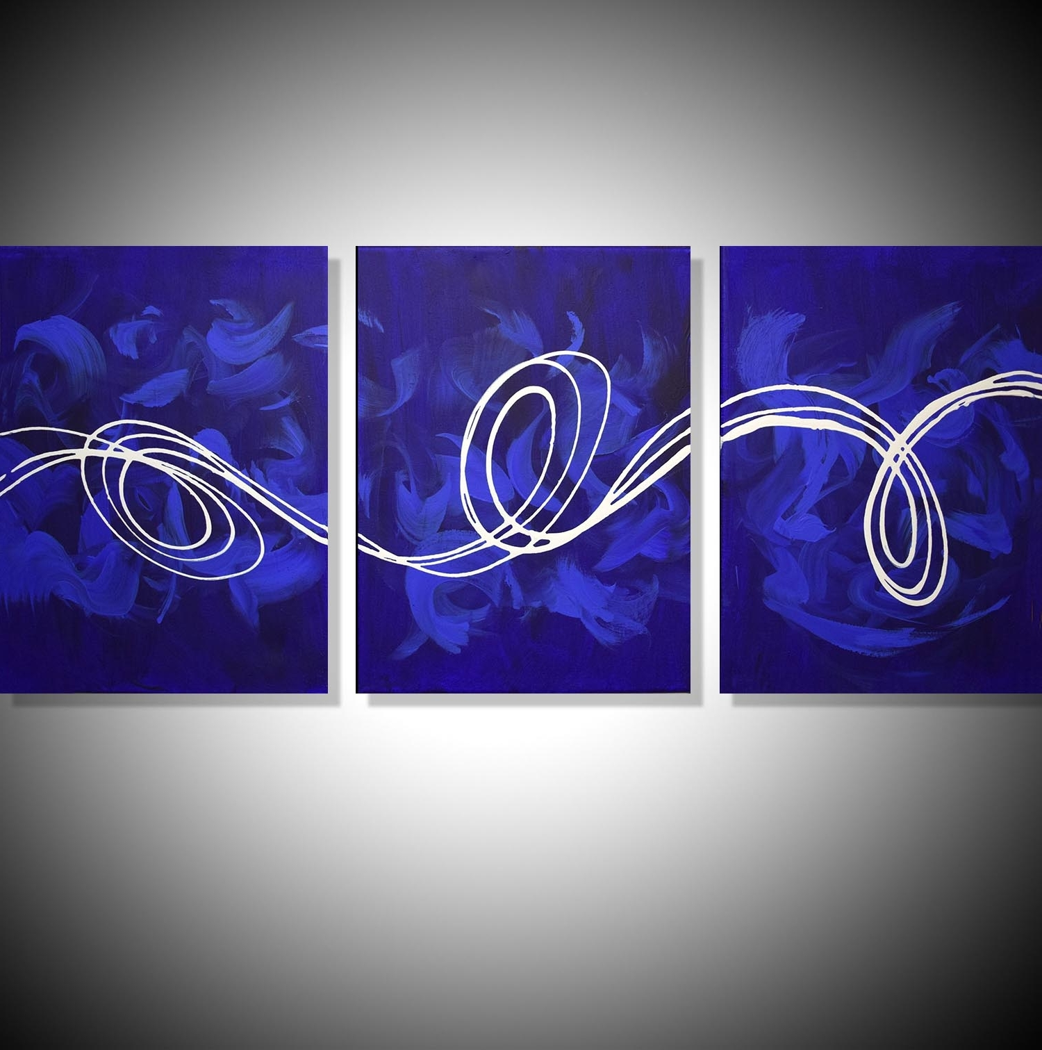 "Large Canvas Art ""deep Blue"" Big Canvas Abstract Art For Sale Throughout Preferred Triptych Art For Sale (View 3 of 15)"