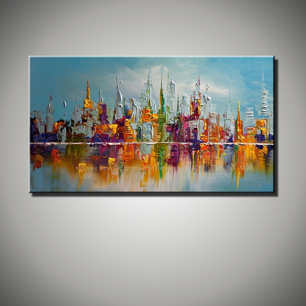 Large Canvas Wall Art Abstract Modern Decorative Pictures New York Throughout Recent Colorful Abstract Wall Art (View 7 of 15)