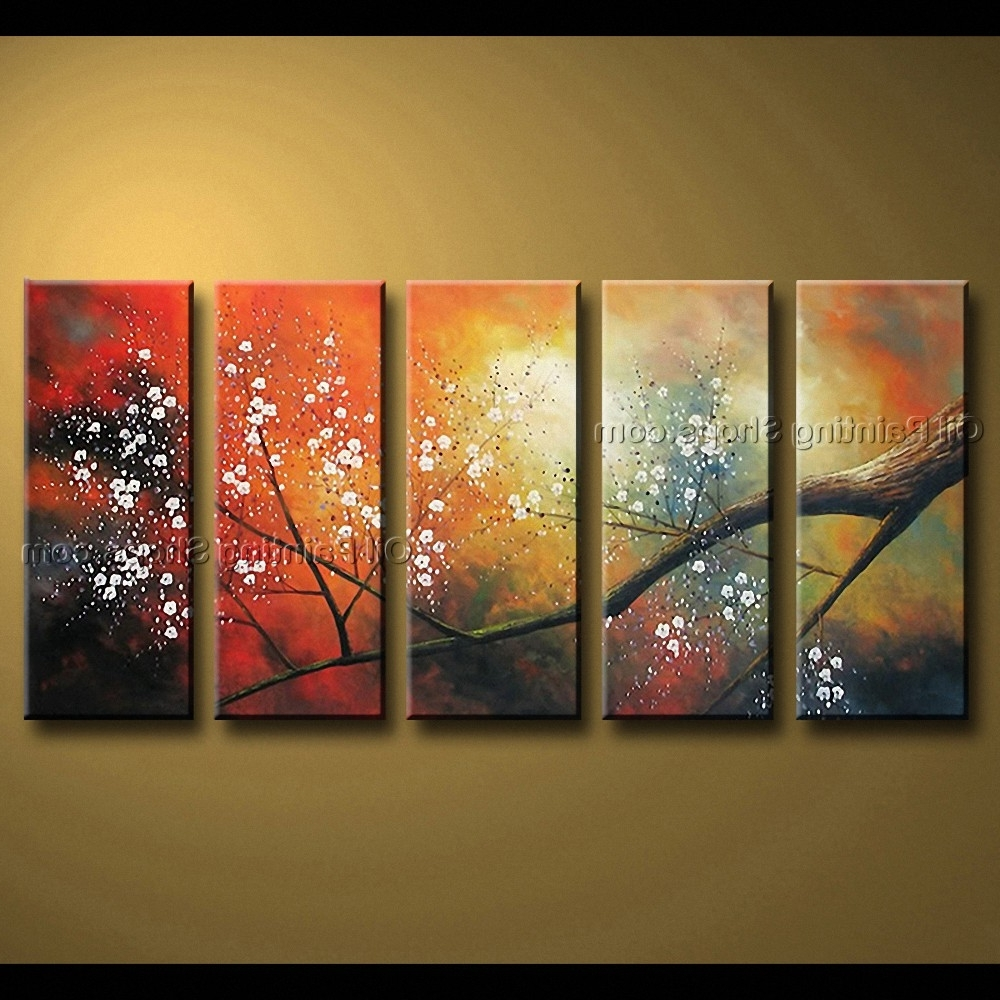 Large Contemporary Wall Art Within Best And Newest Contemporary Wall Art Floral Painting Cherry Blossom Oil On Canvas (View 9 of 15)