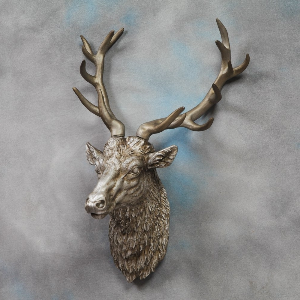 Large Deer Stag Head Wall Mount – Antique Silver – Beautiful Wall With Regard To Widely Used Stags Head Wall Art (View 11 of 15)