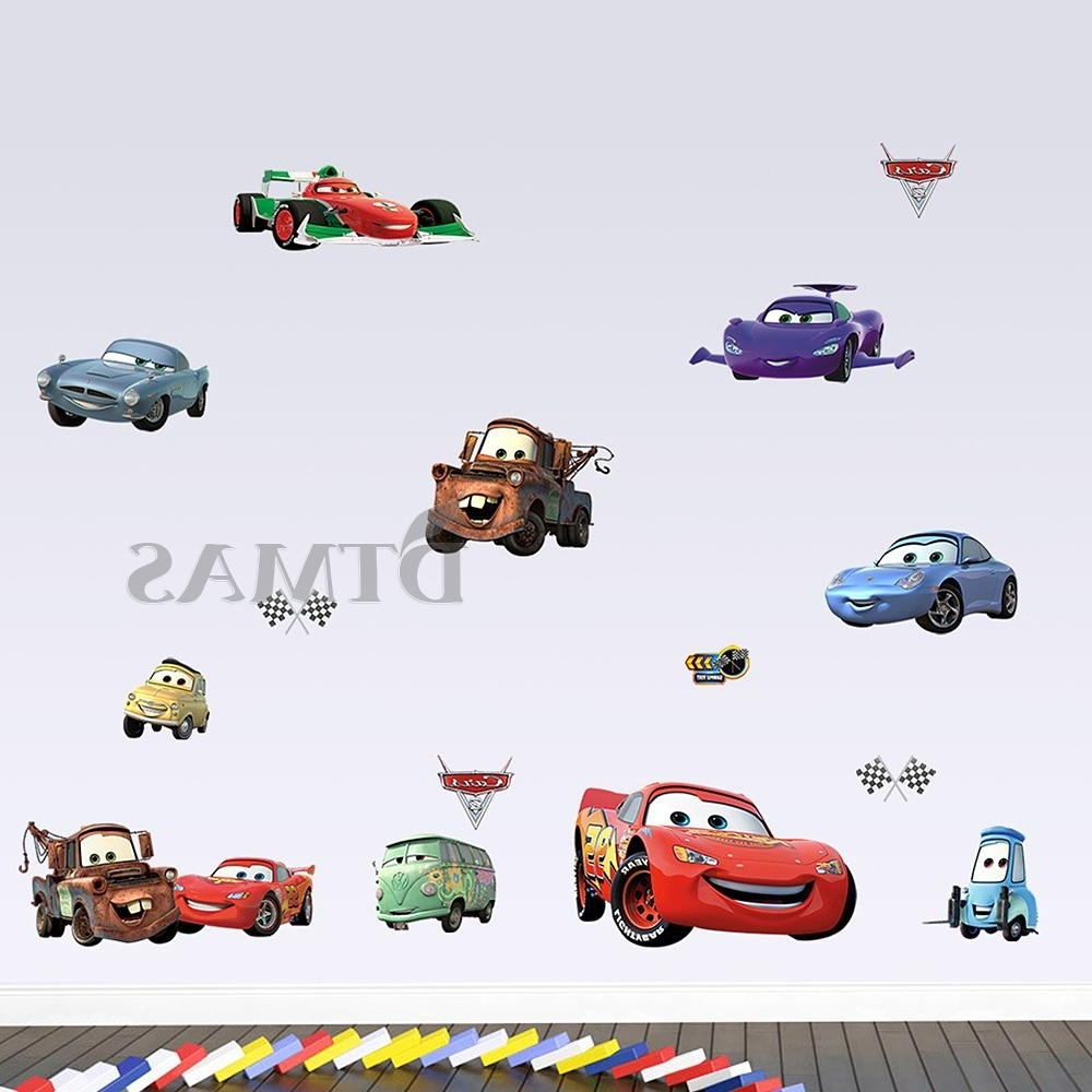 Large Disney Cars Wall Stickers Boys Lightning Mcqueen Kids In Best And Newest Lightning Mcqueen Wall Art (View 9 of 15)