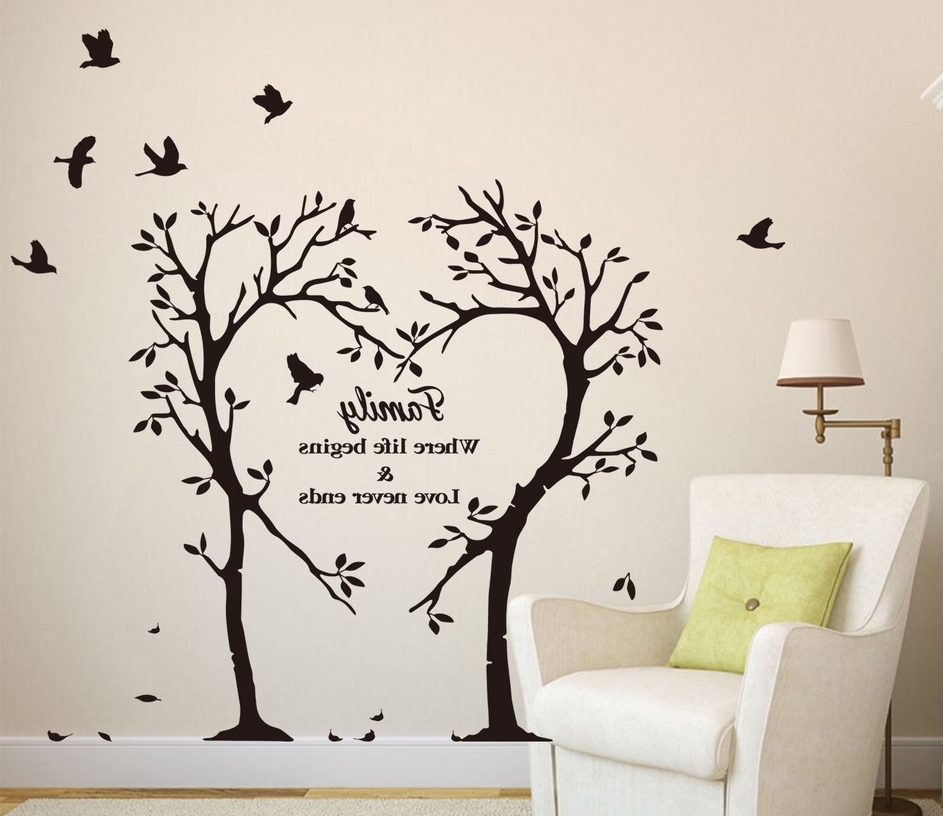 Large Family Inspirational Love Tree Wall Art Sticker, Wall In Famous Large Inspirational  Wall Art