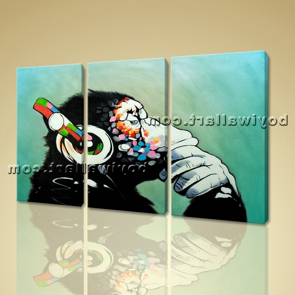 Large Framed Abstract Wall Art Within Well Liked Framed Abstract Print Canvas Wall Art Monkey Headphone Modern Home (View 7 of 15)