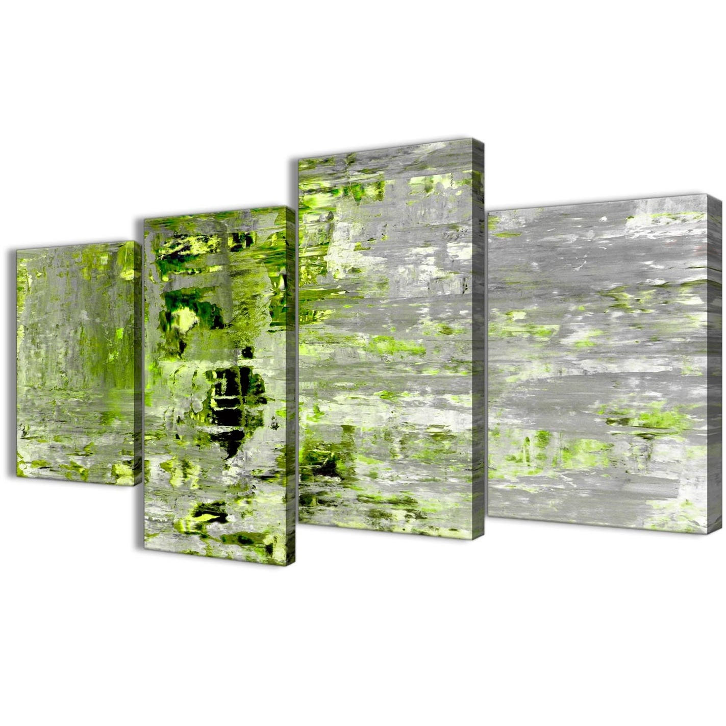 Large Lime Green Grey Abstract Painting Wall Art Print Canvas Within Most Recent Lime Green Abstract Wall Art (View 7 of 15)