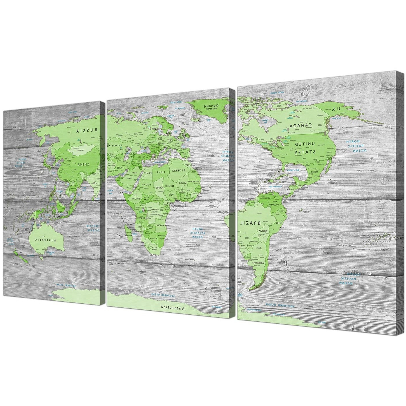 Large Lime Green Grey World Map Atlas Canvas Wall Art Print Regarding 2018 Green Canvas Wall Art (View 7 of 15)