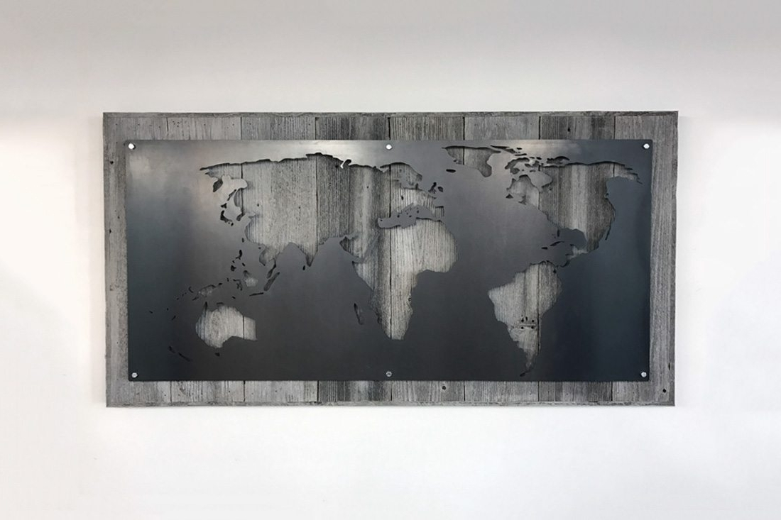 Large Metal Art With Regard To Well Known Large Wood And Metal World Map – Grain Designs (View 6 of 15)