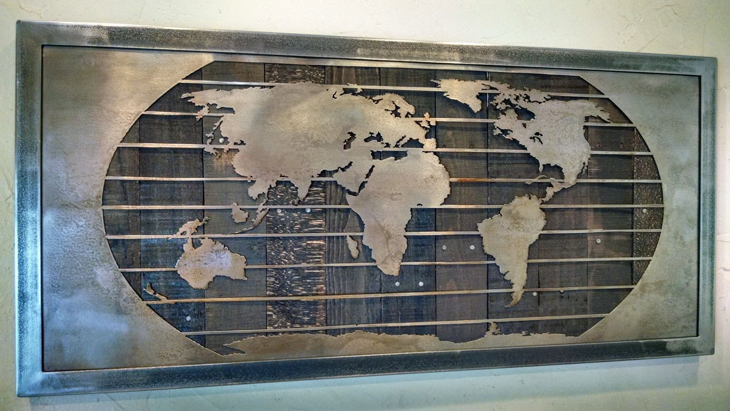 Large Metal Wall Art Sculptures Pertaining To Current Metal World Map Wall Art Sculpture – 3 Sizes – Reclaimed Wood & Steel (View 10 of 15)