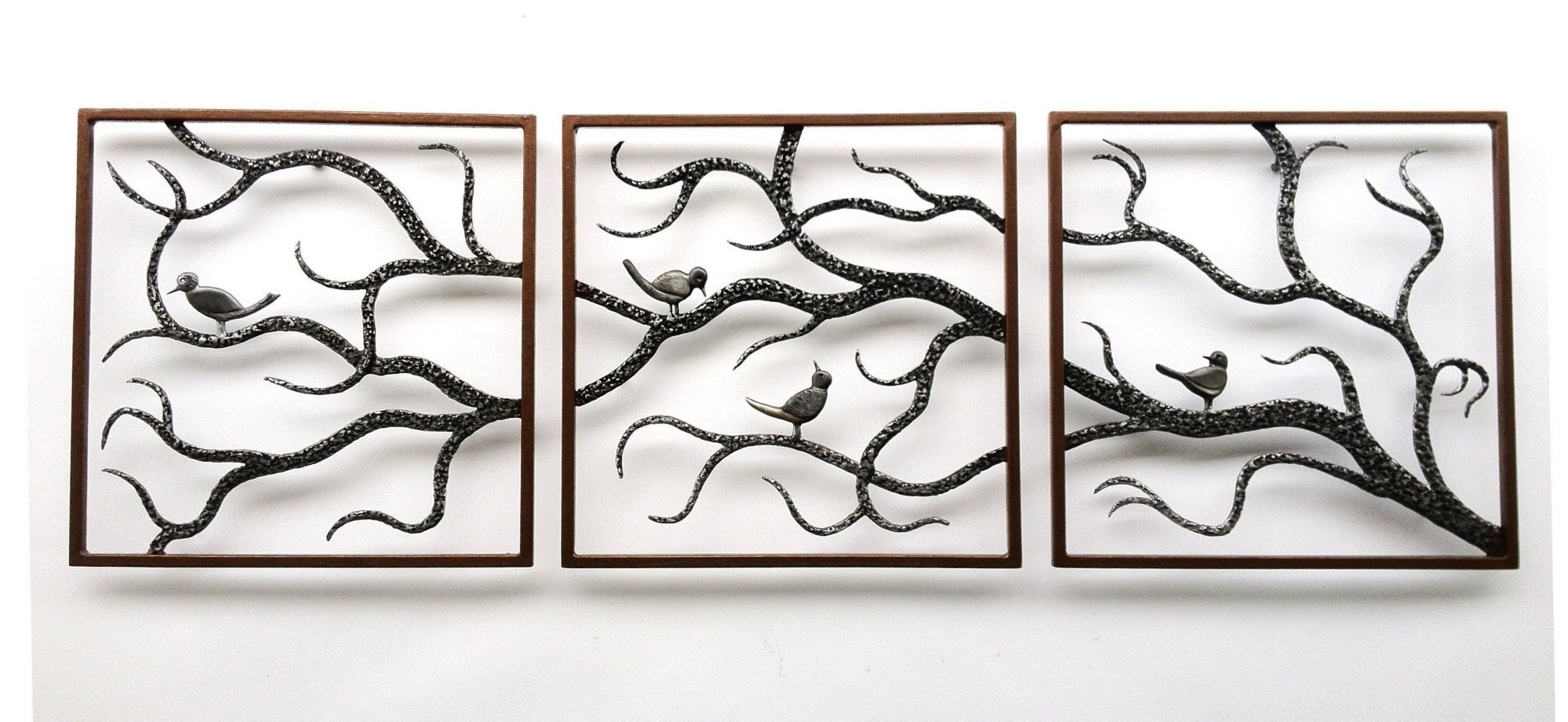 Large Metal Wall Art Sculptures Throughout Most Recently Released Wall Art Designs: Metal Wall Art Trees Birch Three Framed Cute (View 6 of 15)