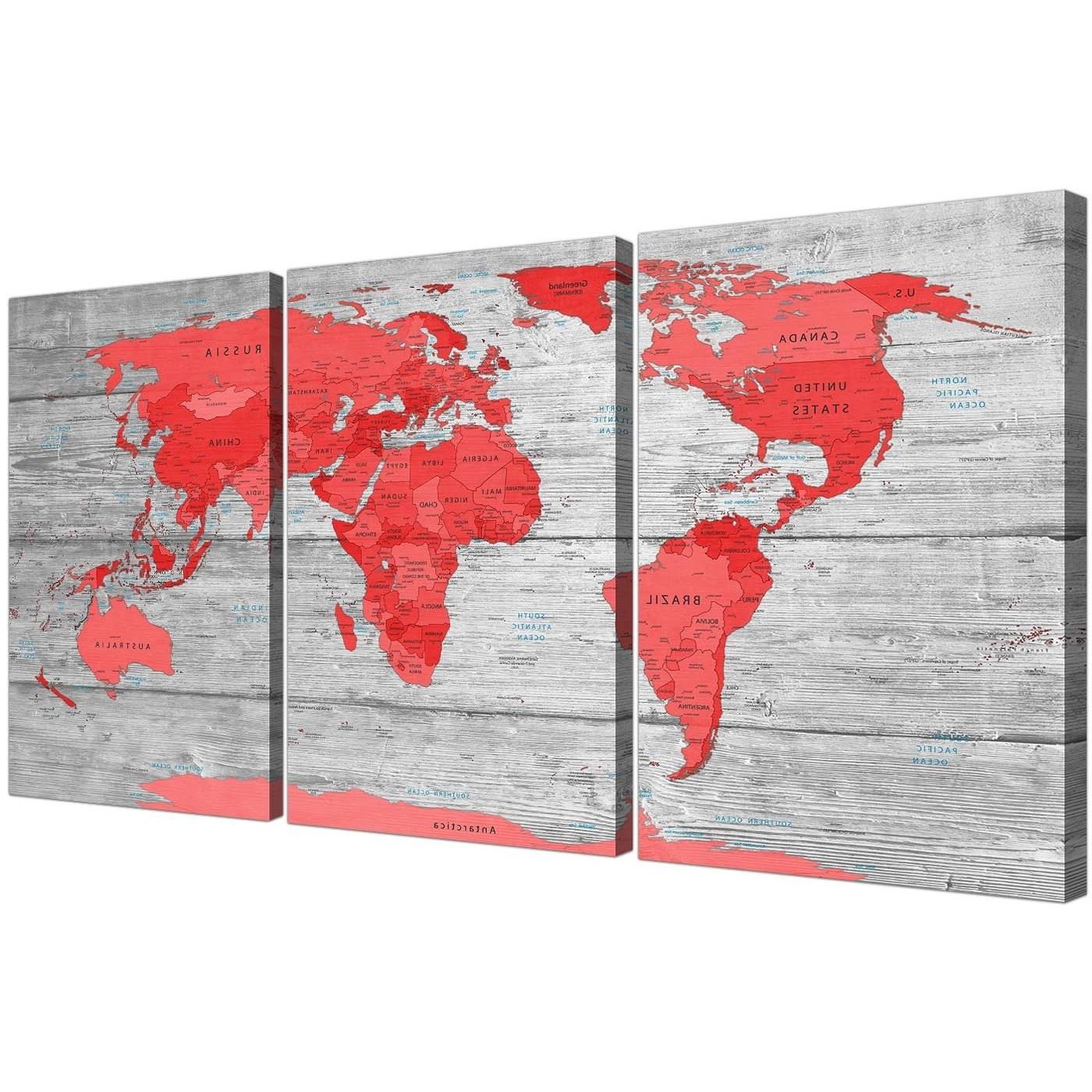 Large Red Grey Map Of The World Atlas Canvas Wall Art Print Split Throughout Most Popular Atlas Wall Art (View 5 of 15)