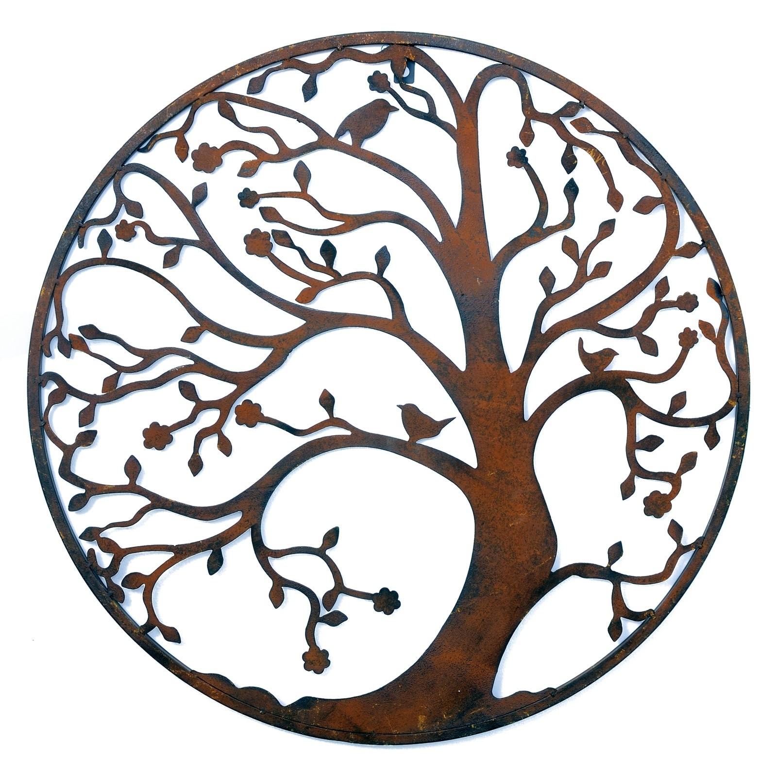 Large Round Wall Art Regarding Well Known Wall Art Designs: Rusted Classic Design Tree Leaf Branch Birds (View 4 of 15)