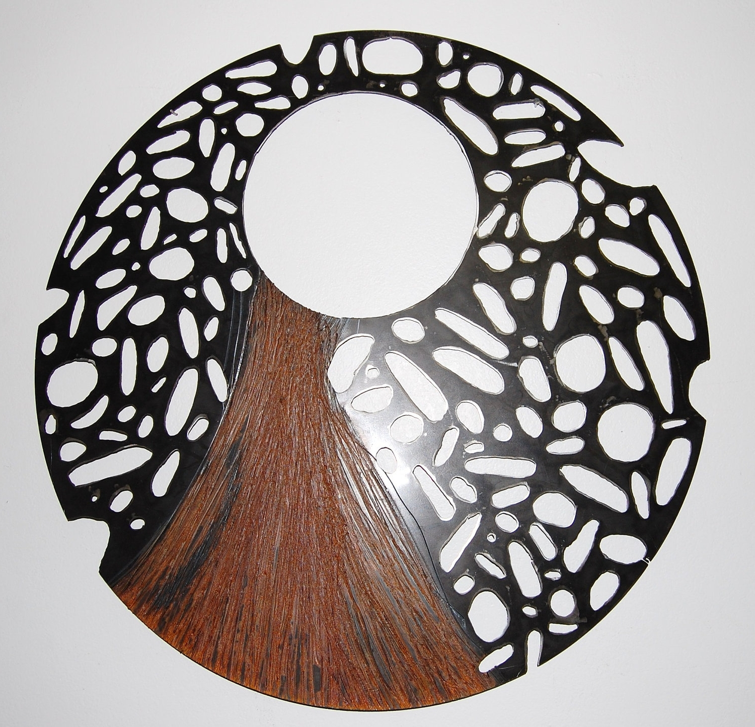 Large Steel Sculpture,recycled Metal Wall Art, Round Perforated In Current Abstract Outdoor Wall Art (View 5 of 15)