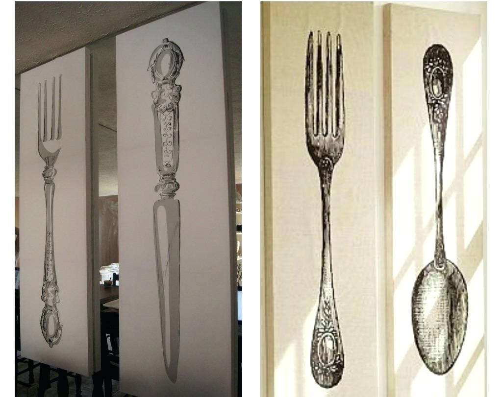 Large Utensil Wall Art In Current Silver Fork Knife Spoon Wall Decor • Walls Decor (View 3 of 15)