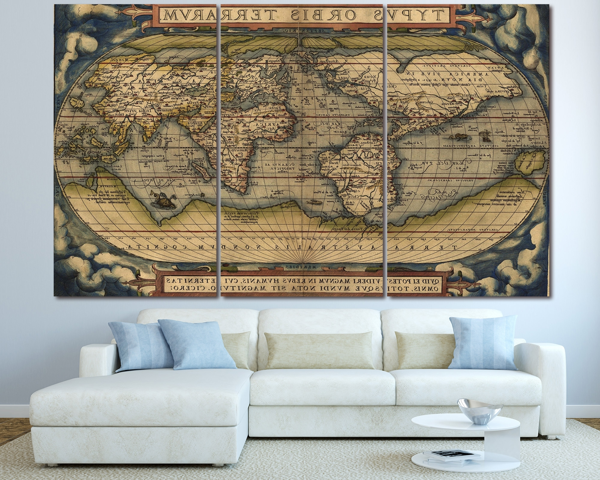 Large Vintage World Map 3 Panel Wall Art At Texelprintart With Most Current 3 Piece Wall Art (View 9 of 15)