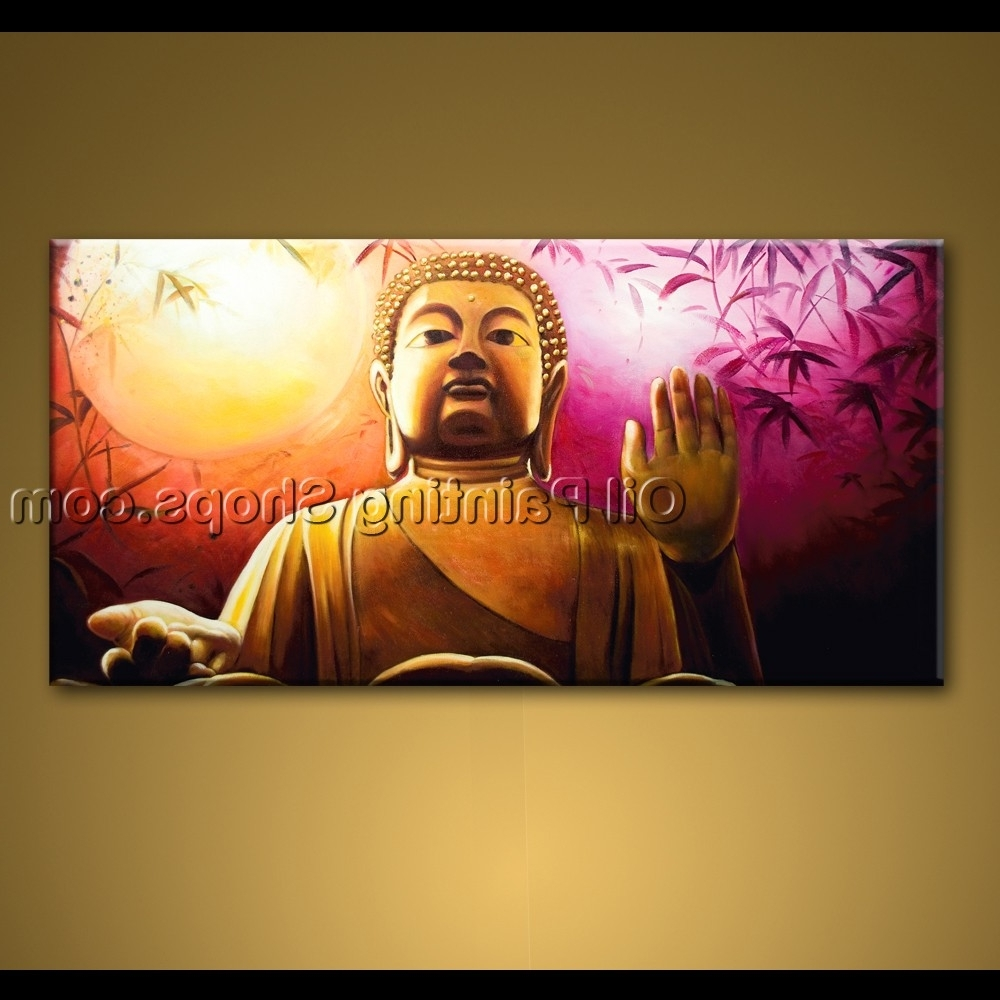 Large Wall Art Feng Shui Original Abstract Buddha Oil Painting Zen With Fashionable Abstract Buddha Wall Art (Gallery 2 of 15)