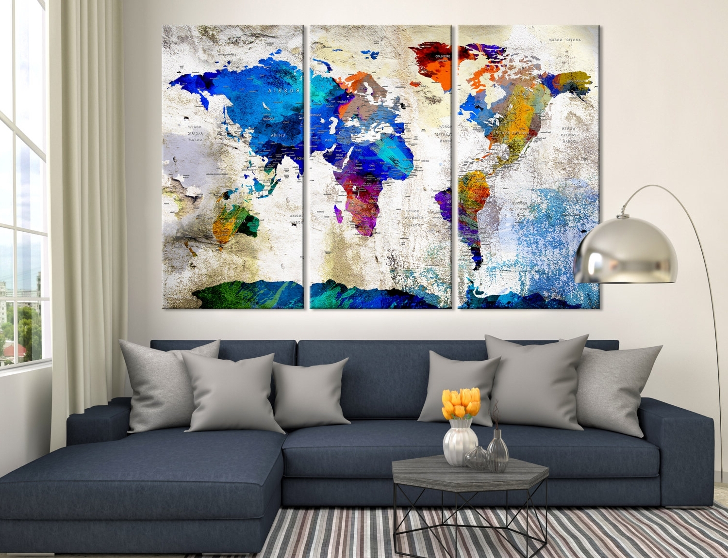 Large Wall Art Push Pin World Map, Push Pin, World Map, Wall Art With Regard To Most Recently Released Large Triptych Wall Art (View 15 of 15)