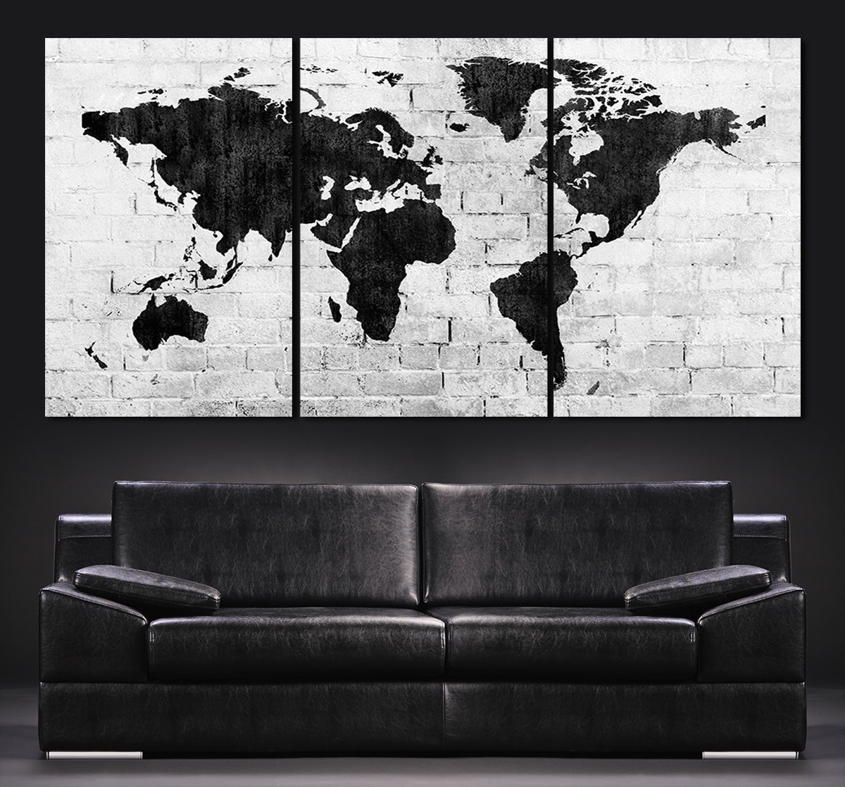 Large Wall Art World Map Canvas Print – Contemporary 3 Panel Regarding Recent Large Triptych Wall Art (View 7 of 15)