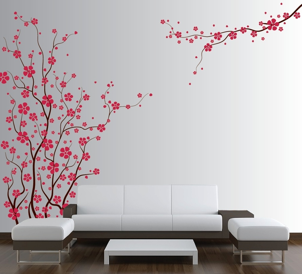 Large Wall Tree Nursery Decal Japanese Magnolia Cherry Blossom With Regard  To 2018 Red Cherry Blossom