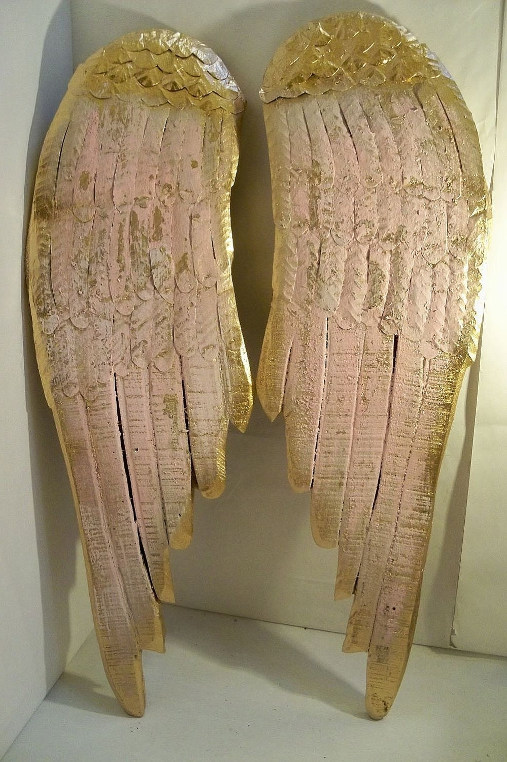 Large Wood Sculpture Angel Wings Pink Shabby Chic Wall Hanging With Regard To Widely Used Angel Wings Wall Art (View 10 of 15)