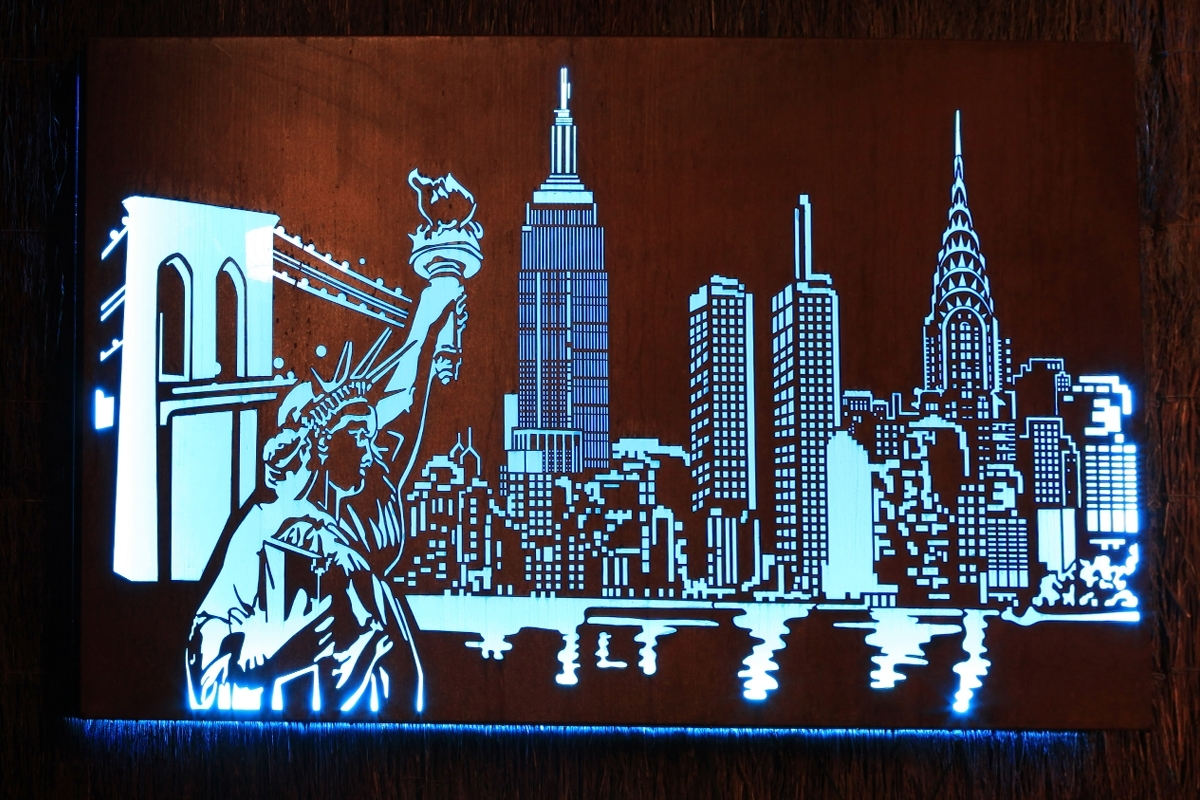 Laser Cut 'new York Skyline' Metal Art Design With Internal Led In Widely Used Metal Wall Art New York City Skyline (View 4 of 15)
